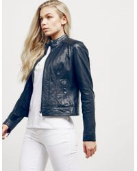 BOSS - Womens Janabelle Leather Jacket - Online Exclusive Navy Blue - Lyst
