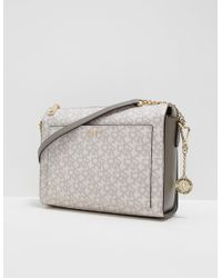 DKNY - Womens Print Logo Shoulder Bag Grey - Lyst