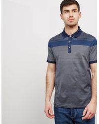 Michael Kors - Mens Stripe Short Sleeve Polo Shirt Navy - Lyst