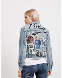 Polo Ralph Lauren - Womens Bear Trucker Denim Jacket Blue - Lyst