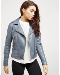Belstaff - Womens Marvington Leather Jacket Blue - Lyst