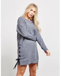 DKNY - Womens Lace Up Sweatshirt Dress Grey - Lyst