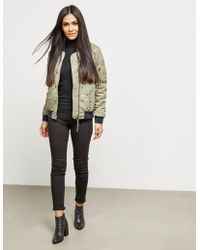True Religion - Womens Chalk Quilted Bomber Jacket Green - Lyst