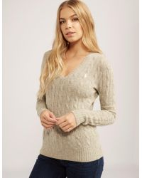 Polo Ralph Lauren - Womens Cable Knitted Jumper Grey - Lyst