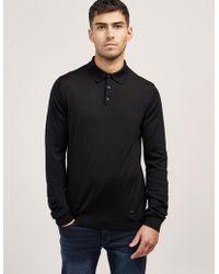 Armani - Mens Wool Long Sleeve Polo Shirt Black - Lyst