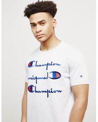 Champion - Mens Triple Logo Short Sleeve T-shirt Grey Marl/grey Marl - Lyst