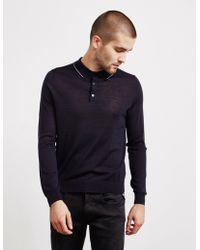 Pal Zileri - Mens Tipped Long Sleeve Polo Shirt Navy Blue - Lyst