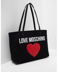 Love Moschino - Womens Heart Shopper Bag Black/red - Lyst