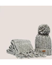 Barbour - Womens Chunky Hat And Scarf Set Grey - Lyst