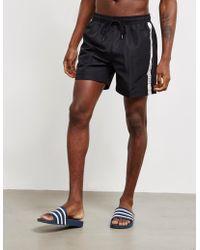 e3f2cc1e2a Calvin Klein - Tape Medium Swim Shorts Black - Lyst