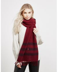 Polo Ralph Lauren - Womens Long Wool Scarf Red - Lyst