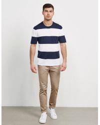 Michael Kors - Mens Stripe Knitted T-shirt Blue - Lyst