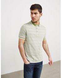 Michael Kors - Mens Knitted Stripe Short Sleeve Polo Shirt Green - Lyst