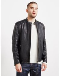 BOSS Jagson Leather Biker Jacket Black