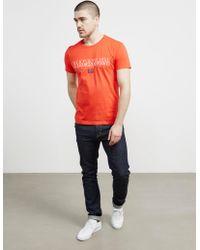 Napapijri - Mens Sapriol Core Short Sleeve T-shirt Red - Lyst