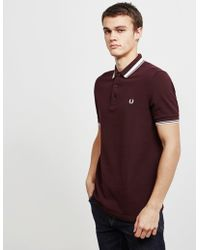 Fred Perry - Contrast Tipped Pique Deep Mahogany Polo Shirt - Lyst