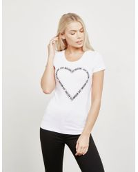 Love Moschino - Womens Logo Heart Short Sleeve T-shirt White - Lyst