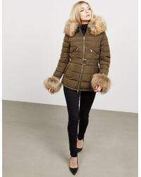 FROCCELLA - Womens Padded Fur Jacket Green - Lyst