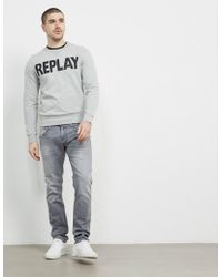 Replay - Mens Logo Crew Sweatshirt Grey - Lyst
