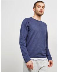Calvin Klein - Mens Basic Crew Tape Sweatshirt Blue - Lyst