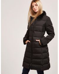 Armani Jeans - Womens Long Down Padded Jacket Black - Lyst