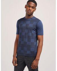 Armani - Mens Square Print Short Sleeve T-shirt Blue - Lyst