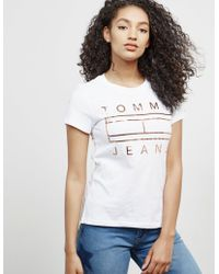 Tommy Hilfiger - Womens Clean Flag Short Sleeve T-shirt White - Lyst