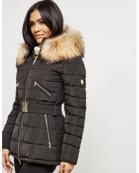 FROCCELLA - Womens Padded Belt Jacket Black - Lyst