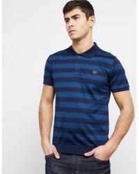 Paul And Shark - Mens Stripe Short Sleeve Polo Shirt Navy - Lyst
