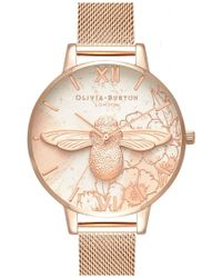 Olivia Burton - Abstract Florals 3d Bee Mesh Watch - Lyst