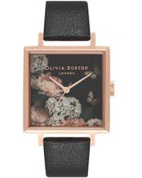 Olivia Burton - Signature Floral Big Dial Square Dial Watch - Lyst
