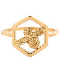 Olivia Burton - Honeycomb Bee Ring - Lyst