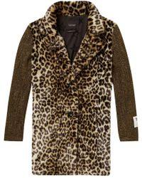 Maison Scotch - Contrast Sleeve Leopard Print Coat - Lyst