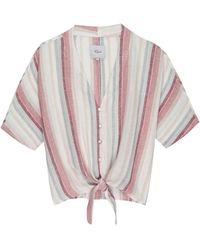 fff29768667 New Look White Stripe Flutter Sleeve Wrap Crop Top in White - Lyst