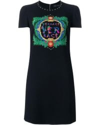 Versace - Embroidered Logo Dress - Lyst