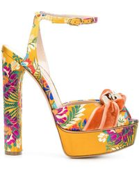 Casadei - Floral Embroidered Sandals - Lyst