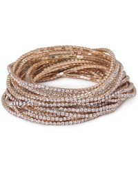 ABS By Allen Schwartz - Crystal Multi-strands Bracelet - Lyst