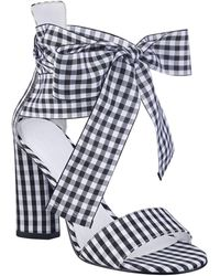 Guess - Allison Gingham Ankle-wrap Sandals - Lyst