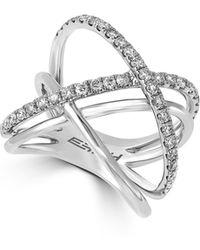 Effy - 0.79 Tcw Diamond, 14k White Gold Crossover Ring - Lyst