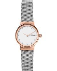 Skagen - Freja Two-tone Stainless Steel Mesh Watch And Katrine Necklace Gift Set - Lyst