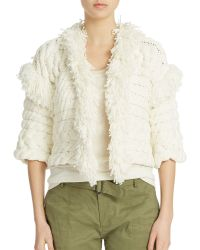 424 Fifth - Cable And Fringe Sweater Jacket - Lyst
