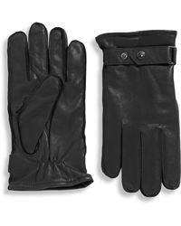 Black Brown 1826 - Luxurious Deerskin Belted Gloves With Custom Snap - Lyst