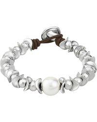 Uno De 50 - Oasis Dessert Pearl Beaded Silver Bracelet - Lyst