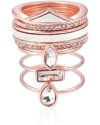 Guess - Seven-piece Crystal Stackable Ring Set - Lyst