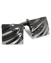 Black Brown 1826 | Wave Textured Brass Cufflinks | Lyst