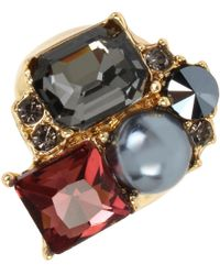 Kenneth Cole | Mixed Faceted Stone And Pearl Cluster Ring | Lyst