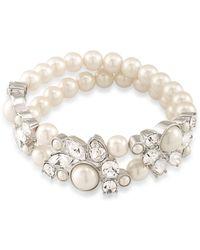 Carolee - Faux Pearls Silvertone Stretch Bracelet - Lyst