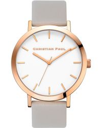 Christian Paul - Analog Raw Collection Rose Goldtone Leather Strap Watch - Lyst
