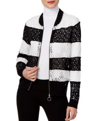 INC International Concepts | Striped Lace Bomber Jacket | Lyst
