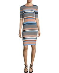 MO&CO. EDITION10 - Striped Knit Dress - Lyst